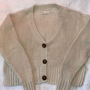 cream cropped waffle knit button up cardigan